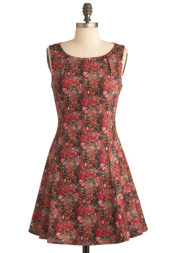 Labyrinth Experiment Dress - Short, Multi, Red, Black, Print, Party, A-line, Sleeveless, Cotton, Coral, Fit & Flare