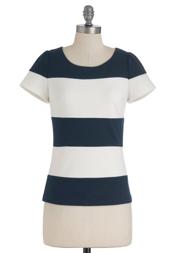 Alternate Ending Top - White, Stripes, Casual, Nautical, Short Sleeves, Blue, Exposed zipper, Mod, Mid-length, Summer