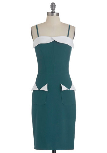 Dance Teal Dawn Dress - Mid-length, White, Solid, Trim, Party, Vintage Inspired, 60s, Shift, Spaghetti Straps, Exclusives, Cocktail, Green