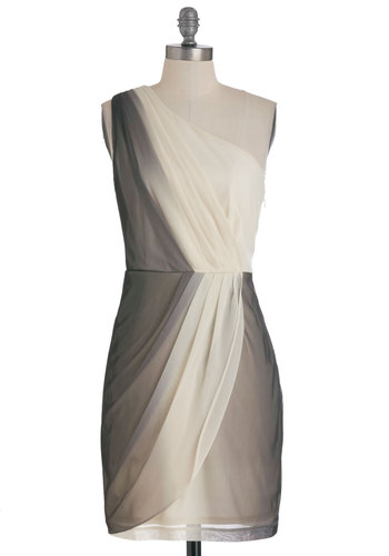 Worth Waning For Dress by Max and Cleo - Mid-length, Black, White, Pleats, Wedding, Party, Sheath / Shift, One Shoulder, Solid