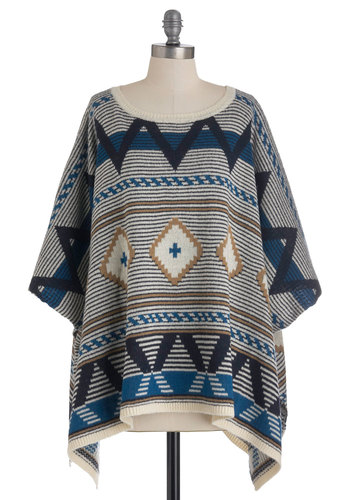 Yes You Camp Sweater by BB Dakota - Multi, Blue, Tan / Cream, Black, Knitted, Casual, Long Sleeve, Print, Boho, Fall, Folk Art, Short