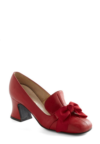 Vintage Reserve Scarlet Heel - Solid, 60s, Red, Bows, Work, Leather, Vintage Reserve
