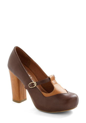 Scale Your Business Heel by Jeffrey Campbell - Brown, Tan / Cream, Vintage Inspired, Work, 90s, Fall, Leather, Platform, Mid