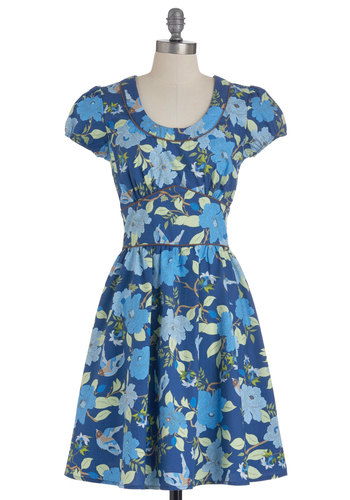 Bluebirds and Blossoms Dress - Mid-length, Blue, Green, Brown, Floral, Fit & Flare, Vintage Inspired, Short Sleeves, Exclusives, Daytime Party, Cotton