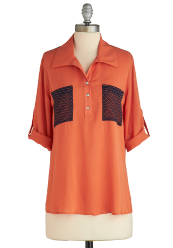 Sample 1913 - Orange, Blue, Buttons, Pockets, Casual, Short Sleeves