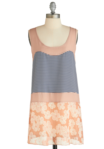 Sample 1907 - Multi, Orange, Blue, Pink, White, Stripes, Floral, Casual, Sheath / Shift, Sleeveless