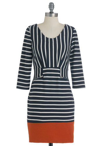 Bay Navigator Dress - Mid-length, Orange, White, Stripes, Exposed zipper, Work, Sheath / Shift, Long Sleeve, Blue, Pockets, Cotton
