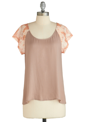 Sample 1914 - Tan, Orange, Lace, Short Sleeves
