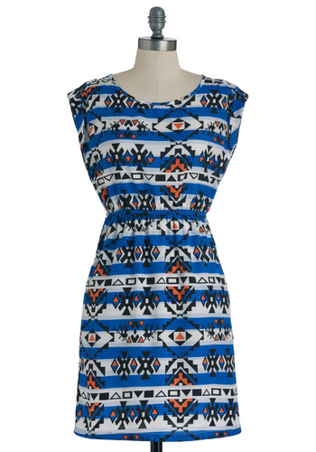 Pattern Your Attention Dress - Mid-length, Multi, Orange, Blue, Black, White, Print, Pockets, Casual, A-line, Cap Sleeves