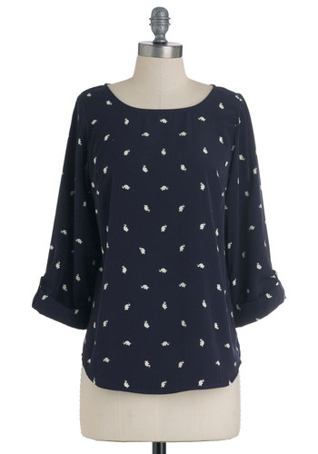 Zoom Bisou Top in Elephant - Blue, White, Print with Animals, Buttons, Casual, 3/4 Sleeve, Pearls, Mid-length, Boat