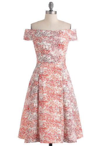 Kettle Corn Dress in Red Bushels - Multi, Red, Purple, Pink, White, Floral, Pleats, Party, A-line, Spring, Mid-length, Orange, Off the Shoulder, International Designer