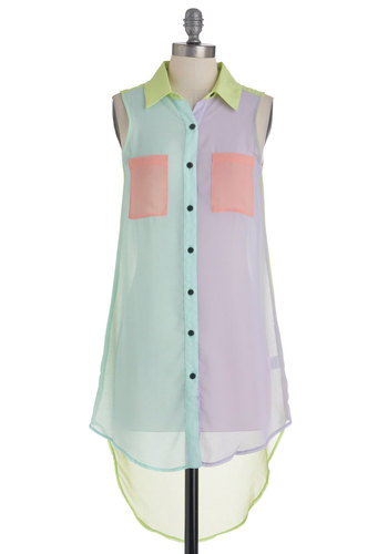 Colorful of Energy Tunic - Buttons, Pockets, Casual, Sleeveless, Long, Multi, Multi, Spring, Pastel, Top Rated, Neon, Sheer, Button Down, Collared, Colorblocking