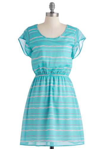 Cyan No More Dress - Blue, Pink, White, Stripes, Cutout, Casual, A-line, Cap Sleeves, Summer, Multi, Purple, Mid-length, Pastel, Sheer, Tis the Season Sale
