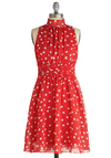 Windy City Dress in Strawberry - Mid-length, Red, White, Polka Dots, Pleats, Party, Daytime Party, Tis the Season Sale, A-line, Sleeveless, Variation