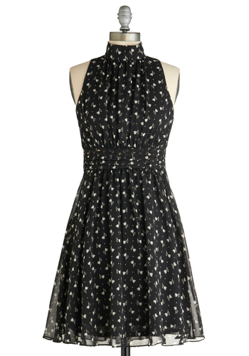 Windy City Dress in Noir Garden - Mid-length, Black, White, Floral, Pleats, Party, A-line, Daytime Party, Sleeveless, Variation