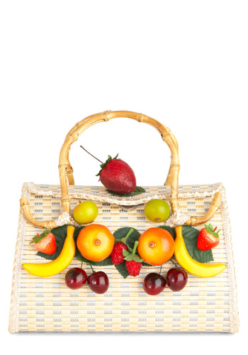 Bounty of Style Bag - Multi, Woven, Casual, Fruits, Tan, Multi, Summer, Beach/Resort