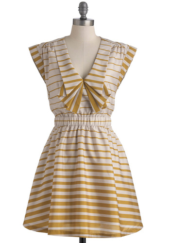Long Time Cumin Dress by Dear Creatures - Short, Yellow, White, Stripes, Party, Cap Sleeves, Fit & Flare, Pockets, Cocktail, Collared