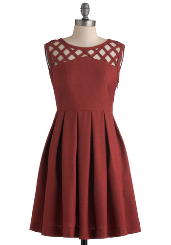 Been There, Grenadine That Dress by Dear Creatures - Mid-length, Red, Solid, Cutout, Pleats, Party, A-line, Sleeveless, Cocktail, Fit & Flare, Tis the Season Sale