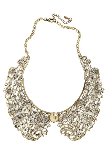 An Ornate Fate Collar Necklace - Gold, Solid, Peter Pan Collar, Vintage Inspired, Cocktail, Holiday Party, Daytime Party, Graduation, 60s, Bridesmaid