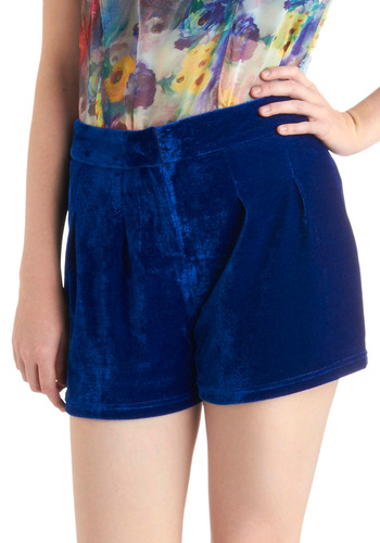 Backstage Magic Shorts - Blue, Solid, 90s