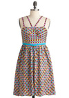 Lattice Sing-Along Dress - Party, 80s, Mid-length, Multi, Blue, Pink, Tan / Cream, Print, Spaghetti Straps, Tis the Season Sale