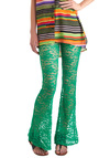 Front and Center Stage Pants - Green, Lace, Floral, Statement, Long