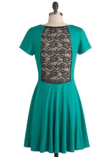 Juniper for Joy Dress - Mid-length, Green, Solid, Lace, Party, A-line, Short Sleeves, Sheer, Jersey, Fit & Flare