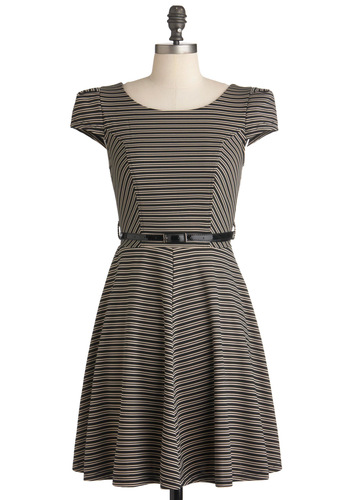 Over and Underline Dress - Mid-length, Tan / Cream, Black, Stripes, Work, A-line, Cap Sleeves, Fall, Belted, Jersey, Fit & Flare