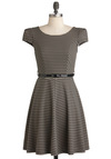 Over and Underline Dress in Black - Mid-length, Tan / Cream, Black, Stripes, Work, A-line, Cap Sleeves, Fall, Belted, Jersey, Fit & Flare