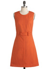 Thoroughly Mod Dress in Orange Scooter - Mid-length, Orange, Solid, Buttons, A-line, Sleeveless, Casual, Vintage Inspired, 60s, Fit & Flare, Mod