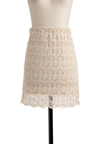 Bring the Whole Ecru Skirt - Short, Cream, Solid, Crochet, Vintage Inspired, Scallops, Party, Summer