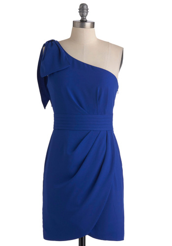 Dream Come True Blue Dress - Short, Blue, Solid, Bows, Pleats, Wedding, Party, Shift, One Shoulder