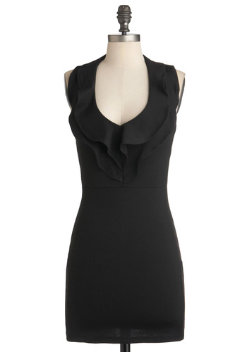 Coal with Me Dress - Short, Black, Solid, Ruffles, Party, Mini, Halter, Summer, Girls Night Out, Bodycon / Bandage, Cocktail, V Neck