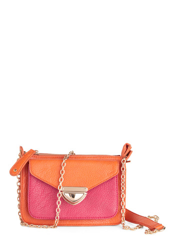 Just What You Need Bag - Orange, Pink, Chain, 80s, Buckles, Statement, Girls Night Out, Faux Leather