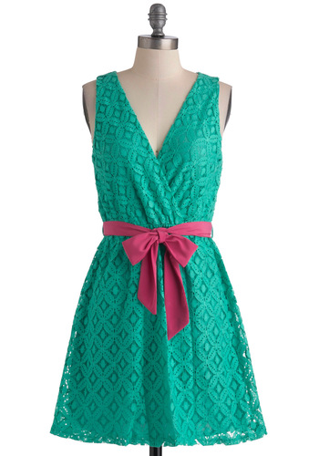 Stylist's Best Palette Dress in Teal - Short, Green, Pink, Lace, Party, A-line, Sleeveless, Belted, Daytime Party, Fit & Flare, V Neck