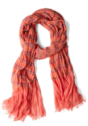 Colored Pencil Tin Scarf in Coral - Stripes, Fringed, Casual, Orange, Green, Purple