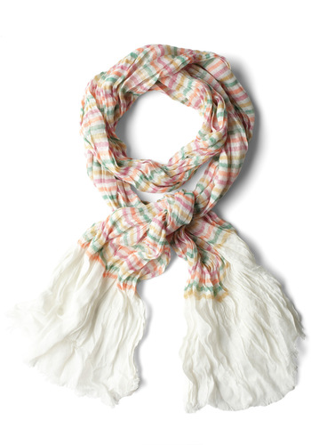 Colored Pencil Tin Scarf in White - White, Multi, Stripes, Casual, Multi