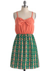 Go Fly a Malachite Dress - Mid-length, Orange, Green, Print, Bows, Casual, Spaghetti Straps, Summer, Multi, Twofer, Sweetheart
