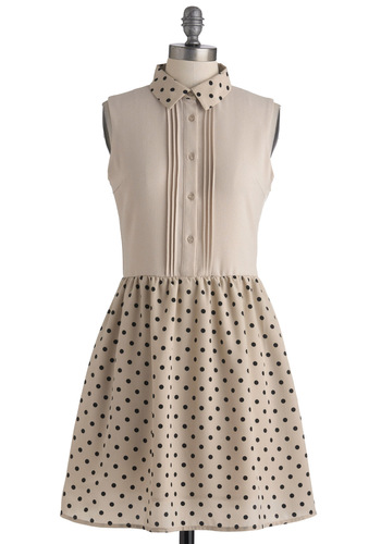 Cheerful Circle Dress - Tan, Black, Polka Dots, Buttons, A-line, Sleeveless, Spring, Backless, Scholastic/Collegiate, Sheer, Casual, Mid-length