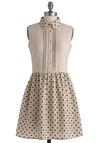 Cheerful Circle Dress - Mid-length, Tan, Black, Polka Dots, Buttons, Party, A-line, Sleeveless, Spring, Backless, Scholastic/Collegiate, Sheer