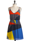 Count Me Indie Dress - Mid-length, Multi, Casual, A-line, Spaghetti Straps, Summer, Multi, Sheer, V Neck