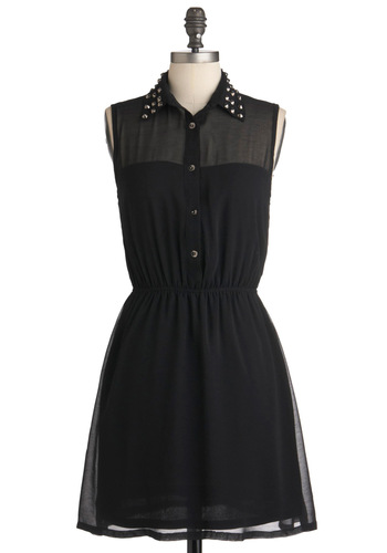 As Noir as I'm Concerned Dress - Mid-length, Black, Solid, Studs, Shirt Dress, Sleeveless, Sheer, Casual