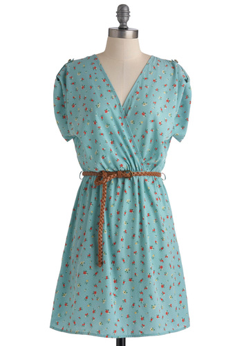 Songwriting Inspiration Dress - Blue, Red, Green, Polka Dots, Floral, Casual, A-line, Short Sleeves, Spring, Mid-length, Belted, Yellow, Pearls, V Neck