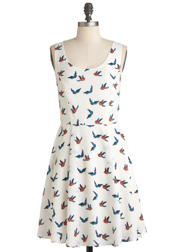 Ivory Skies Dress - Orange, Blue, Print with Animals, Cutout, Casual, A-line, Summer, Mid-length, Sleeveless, Fit & Flare, White