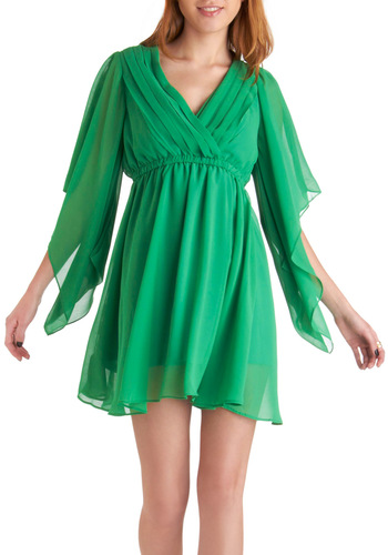 Kale in Comparison Dress - Green, Solid, Pleats, Party, 3/4 Sleeve, Cutout, Empire, Sheer, V Neck, Spring, Mid-length, Summer