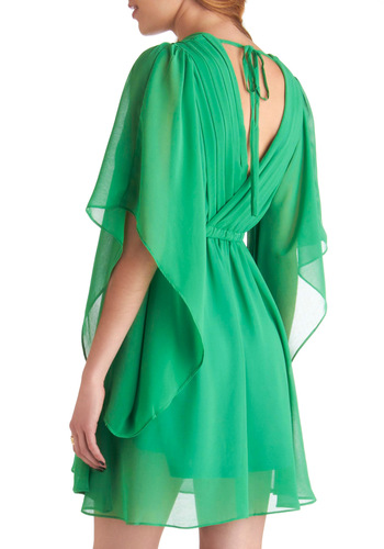Kale in Comparison Dress - Green, Solid, Pleats, Party, 3/4 Sleeve, Cutout, Empire, Sheer, V Neck, Spring, Mid-length