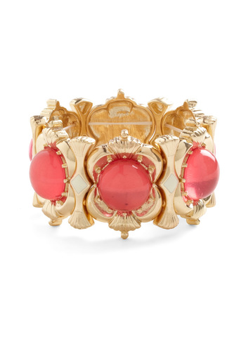 Glamour School Bracelet - Gold, Solid, Luxe, Pink, Party, Holiday Party, Coral, Tis the Season Sale