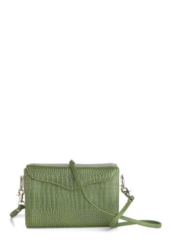 Croc On Bag - Green, Animal Print, Casual, Faux Leather