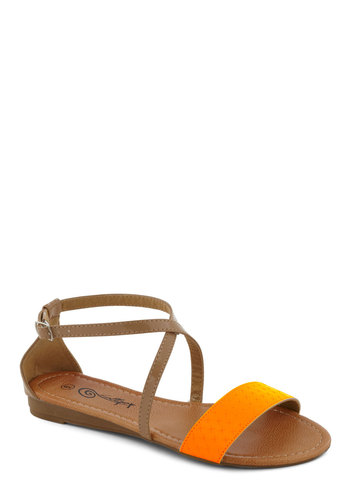Weak in the Neon Sandal in Orange - Orange, Casual, Flat, Tan / Cream, Summer, Neon