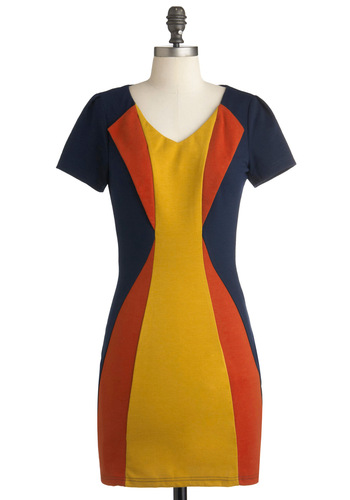 Primary Interest Dress - Short, Orange, Fall, Yellow, Blue, Party, Colorblocking, Sheath / Shift, Short Sleeves, V Neck